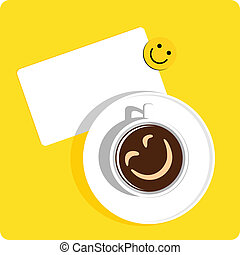coffe cup smile - cup of coffee with smile and a sticker