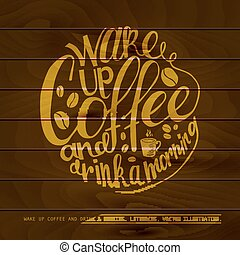 coffe, e, trabalho, lettering.