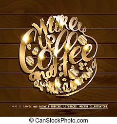coffe, e, trabalho, lettering.j
