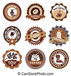 Coffe Emblems Labels Set Brown - Nostalgic best quality...