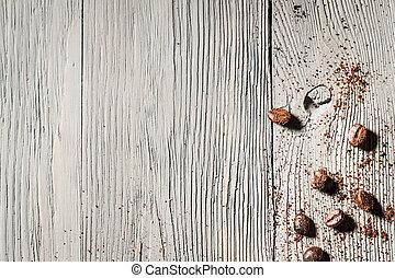 coffe, frö, och, trä tabell, bakgrund