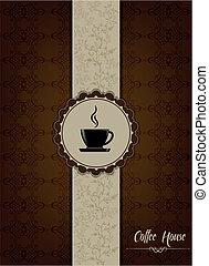 Coffe house menu design with floral patterns.