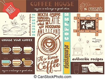 Coffe House placemat - Coffee Menu Placemat Design. Colorful...