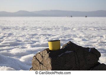 Coffe on winter lake