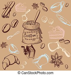 Seamless background is on the topic of coffee and coffee accessories on beige background
