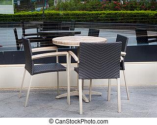 coffe, tabla, con, tres, rota, sillas
