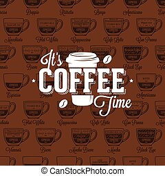 Coffe time logo on seamless pattern coffee type recipe, vector illustration