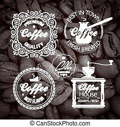 Coffe vector set Label. Vintage Background.