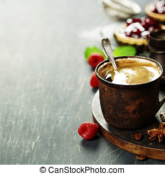 Coffe with Fruit dessert