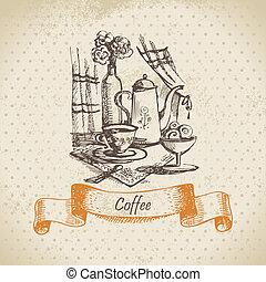 coffee., życie, ilustracja, rocznik wina, ręka, pociągnięty...