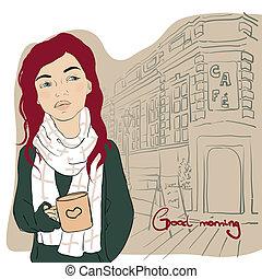 coffee., 女の子, カップ