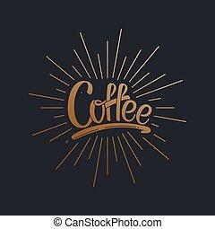 coffee., 矢量, 字母, 插圖