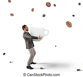 Coffee addiction - Businessman picks with cup coffee beans ...