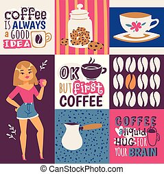 Coffee addiction vector illustration. Cute cartoon female coffee lover with a cup of drink. Coffee is always a good idea. Ok, but first coffee. Coffee a liquid huf for your brain.