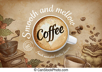 Coffee ads in engraving style - Coffee ads with top view 3d...
