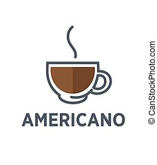 Coffee americano drink steam cup vector flat cafe icon