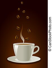 An illustration of a cup of coffee with coffee beans