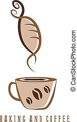 coffee and bakery negative space concept vector illustration
