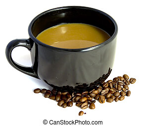 Coffee and Beans - A mug of coffee with roasted coffee...