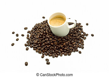 Coffee and beans on the white background. - Coffee beans on ...