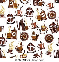 Coffee and beans vector pattern