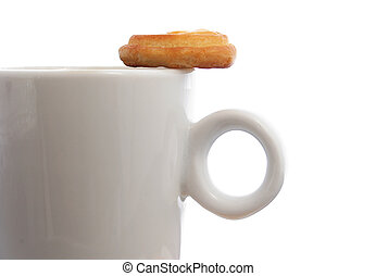Coffee and Biscuit - Coffee cupand biscuit close up with...