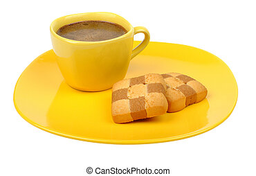coffee and biscuits on a yellow plate