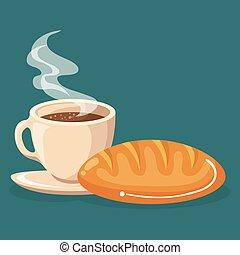 coffee and bread delicious food breakfast menu