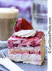 Coffee and Cake - Strawberry sponge cake with cream, with...