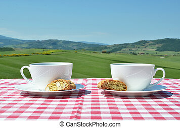 Coffee and cantuccini on the chequered cloth against Tuscan land
