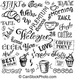Coffee and cocoa- lettering set ,hand drawn on white  background,