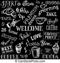 Coffee and cocoa - lettering,hand drawn on black background
