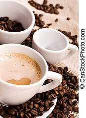 coffee and coffee-beans - coffee in th cup and coffee-beans