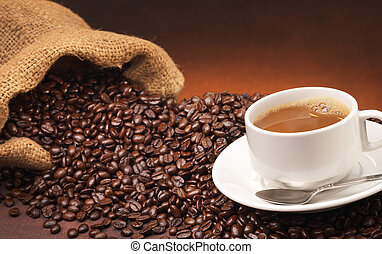 coffee and coffee beans - coffee with cup and spoon