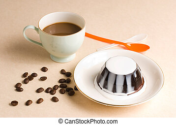Coffee and coffee pudding with milk