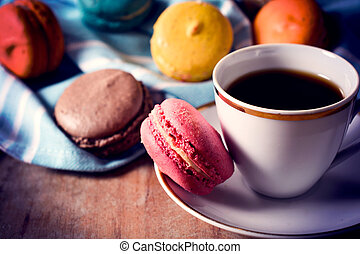 Coffee and cookies - Macaroon cookies and cup of coffee, ...