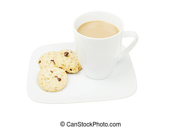 Coffee and cookies on a plate
