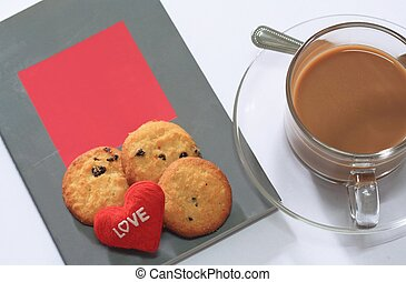 Coffee and Cookies with Books for Valentine day