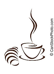 Coffee and croissant. - Cup of coffee and croissant on a...