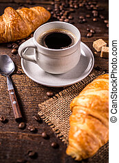 Coffee and croissant f