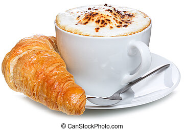 coffee and croissant on a white background