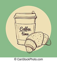 coffee and croissant vector illustration