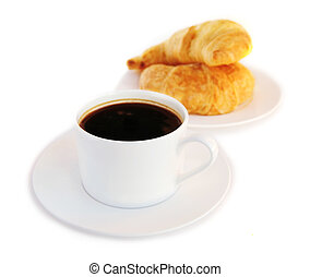 Coffee and croisssants - Breakfast of black coffee and fresh...