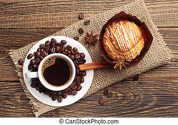 Coffee and delicious cupcake