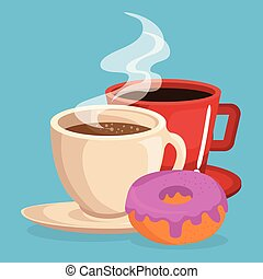coffee and donut delicious food breakfast menu