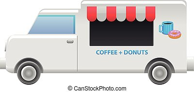 Coffee and donut food truck vector
