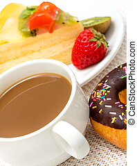 Coffee And Donut Indicates Fatty Food And Barista - Coffee...