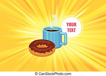 Coffee and donut promotional poster template vector
