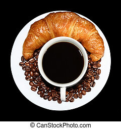 Coffee and French roll - Top view of cup of hot coffee with...