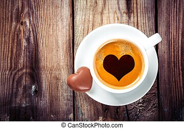 coffee and heart chocolates